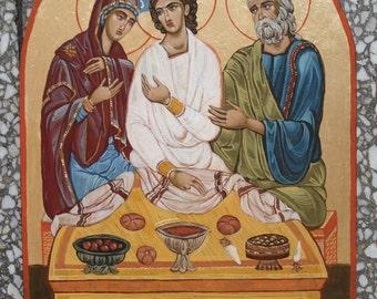 "Orthodox icon  ""Holy Family"", Byzantine icon,Religious art,handpainted icon,greek icon,32x22cm"