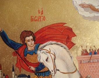 Saint George,Byzantine icon, Orthodox icon,Handpainted icon,Religious art