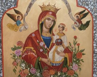 Mother of God,  Orthodox icon, Byzantine icon, Religious art,Handpainted icon,39x30cm.