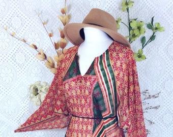 9fcce9a97a8 Crimson Patchwork Floral Vintage Indian Cotton Kaftan - Boho Maxi Dress  (free size) S M