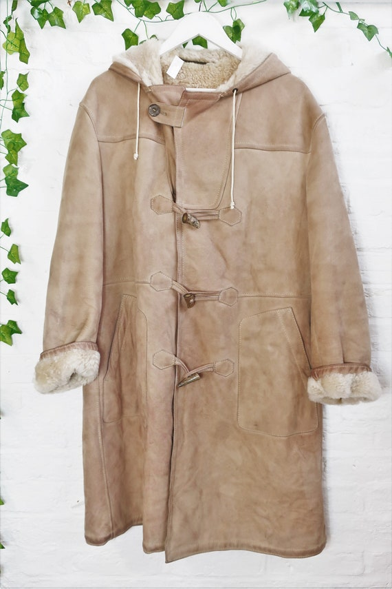 Vintage Hooded Suede Coat - Classic Camel - Size L