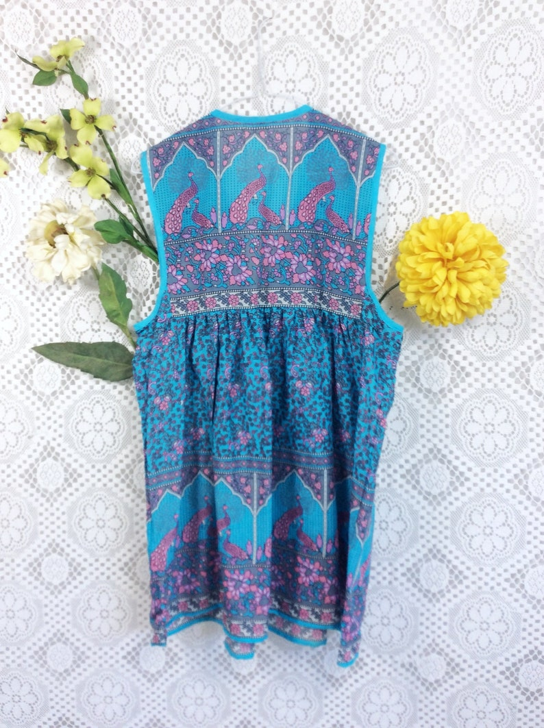 Sleeveless Cotton Gypsy Smock Top SM Aqua Peacock Print