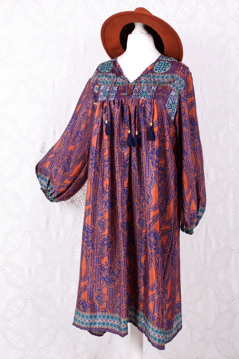 Daphne Smock Dress Azure /& Tiger Floral Tiles Vintage Indian Sari XL