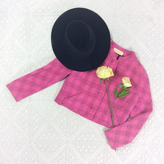 Vintage Rouge Pink & Black Chequered Jacket - Size