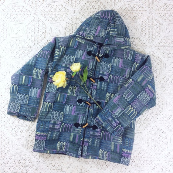 Vintage Fleece Cardigan Jacket - Smokey Blue, Lila