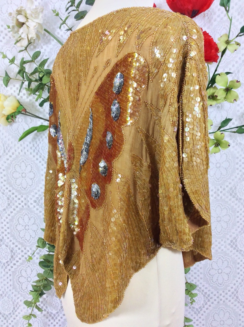 Bronze /& Ginger Vintage Beaded Silk and Sequin Butterfly Top Free Size