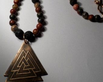 Bronze Valknut Picasso Jasper Necklace - Genuine Grade A Picasso Jasper Gemstone Beads - Viking - Odin - Slain Knot - Thor - Vikings