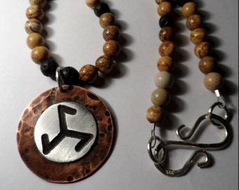 Trefot Laguz Bindrune Necklace - .999 Fine Silver & Copper - Grade-A Picture Jasper Gemstone Beaded Rune Necklace - Viking Triskelion