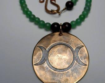 Triple Goddess - Etched Bronze - Aventurine & Bronzite Gemstone Beaded Necklace - Lunar Wiccan Witch Pagan Moon Maiden Mother Crone
