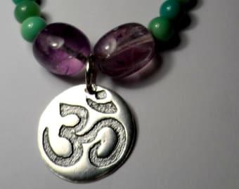 Fine Silver OM Pendant Necklace - Yoga - Genuine Chrysoprase Gemstone & Amethyst Beads - .925 Sterling Silver - Namaste