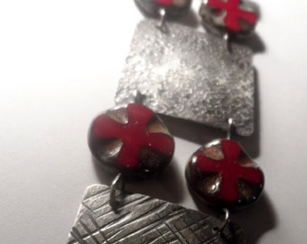 Rustic Sterling Silver Hammered Plates & Cross Beads Bracelet - Czech Glass Beads