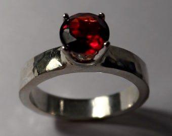 Garnet - Sterling Silver Ring - 4mm Band - 6mm Gemstone - Grade AA - Engagement - Wedding