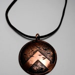 "Custom 22"" Copper/Leather/Etched Spartan Shield Necklace"