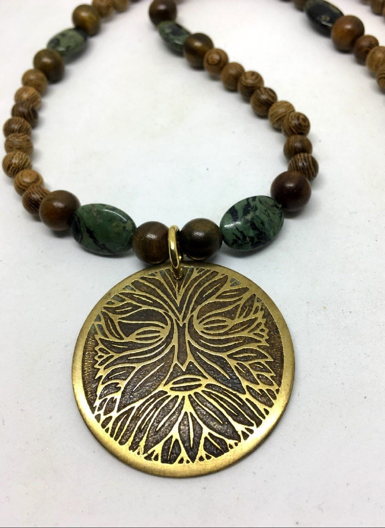 Greenman  Brass Beaded Necklace  Wenge Wood  Kambaba Jasper image 0