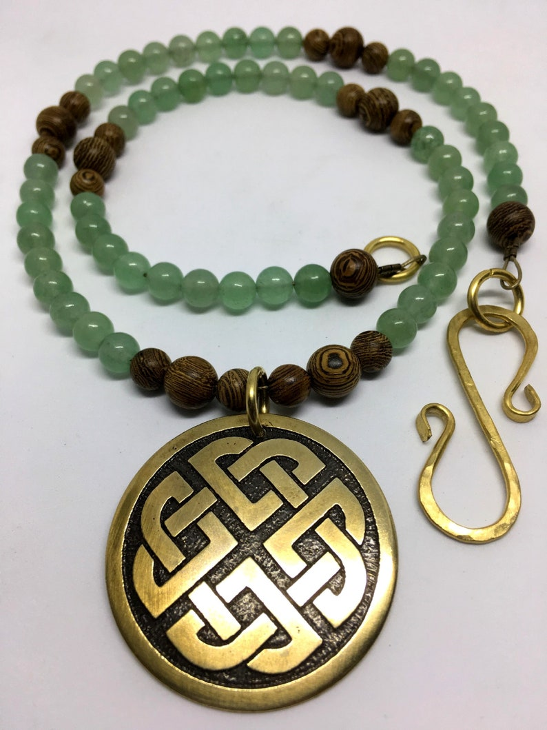 Brass Celtic Shield Knot Necklace  Natural Aventurine image 0
