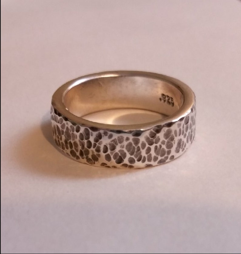 Sterling Silver Ring  6mm Wide  Hammered Dimple Finish  image 0