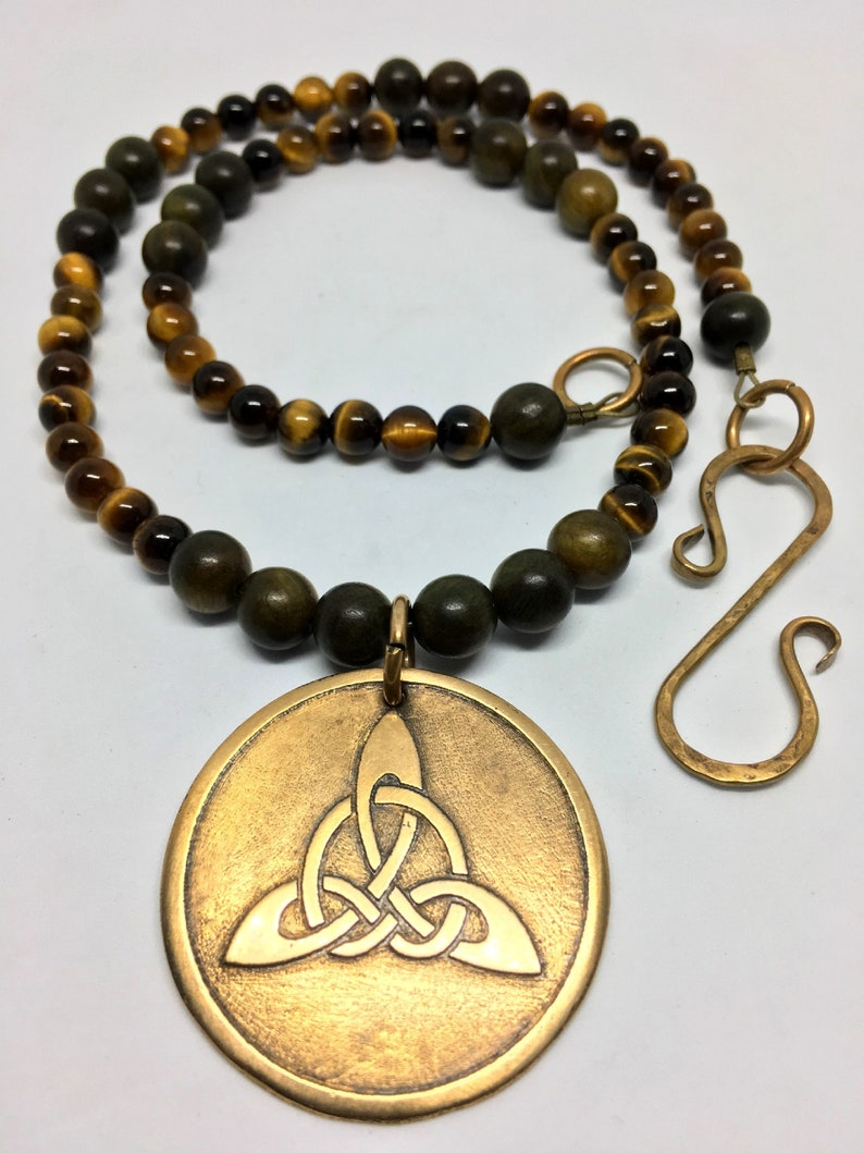 Bronze Triquetra & Natural Tiger's Eye Gemstone Necklace  image 0