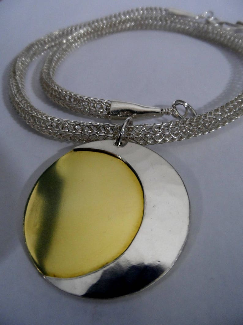 Fine Silver/Brass Sun & Moon necklace on Fine Silver Viking image 0