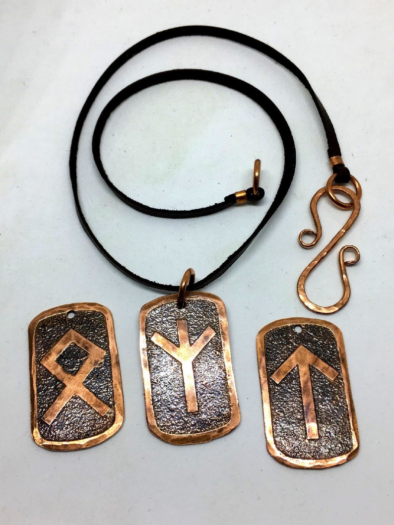 CHOOSE YOUR RUNE Copper & Leather Necklace  Elder Futhark image 0
