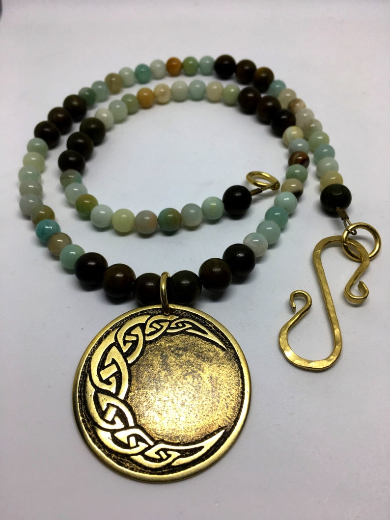 Brass Celtic Crescent Mood Necklace  Natural Amazonite image 0