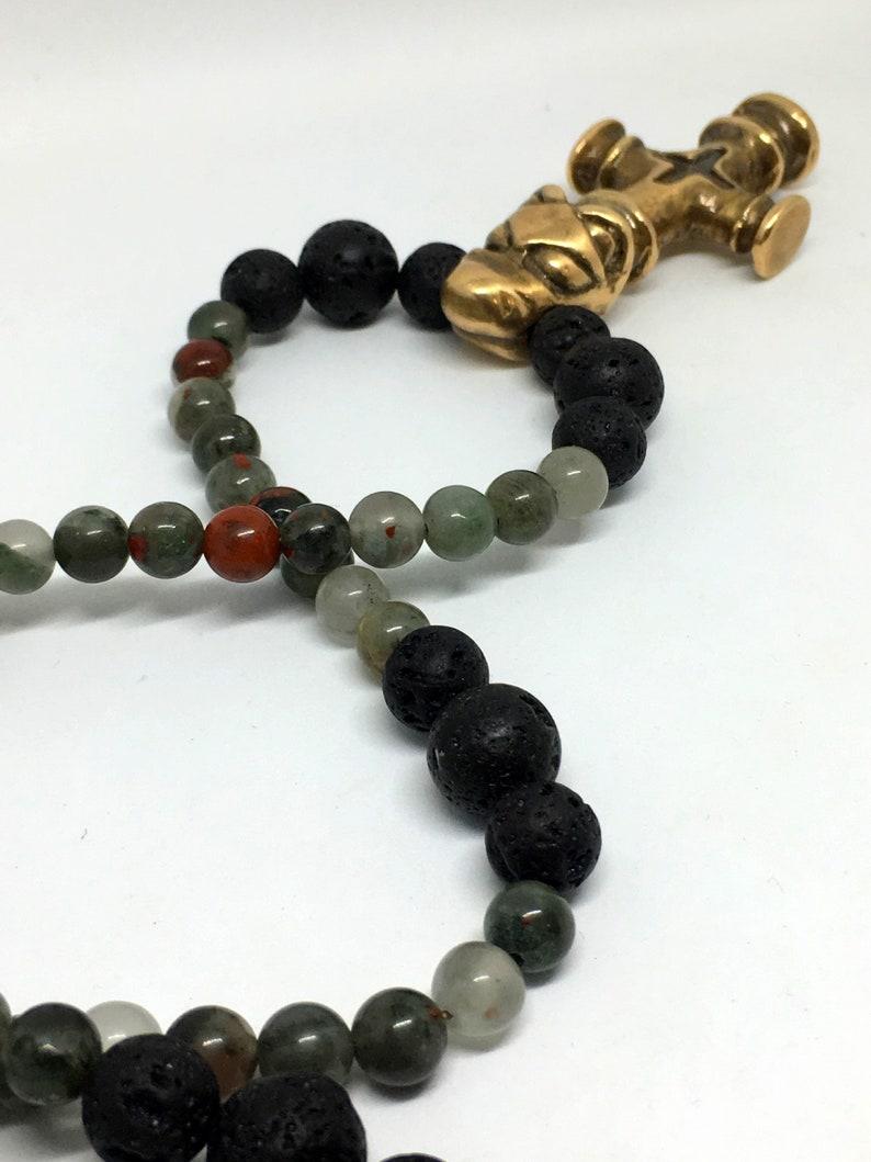 Bronze Viking Wolf Cross & Bloodstone Gemstone Necklace  image 0