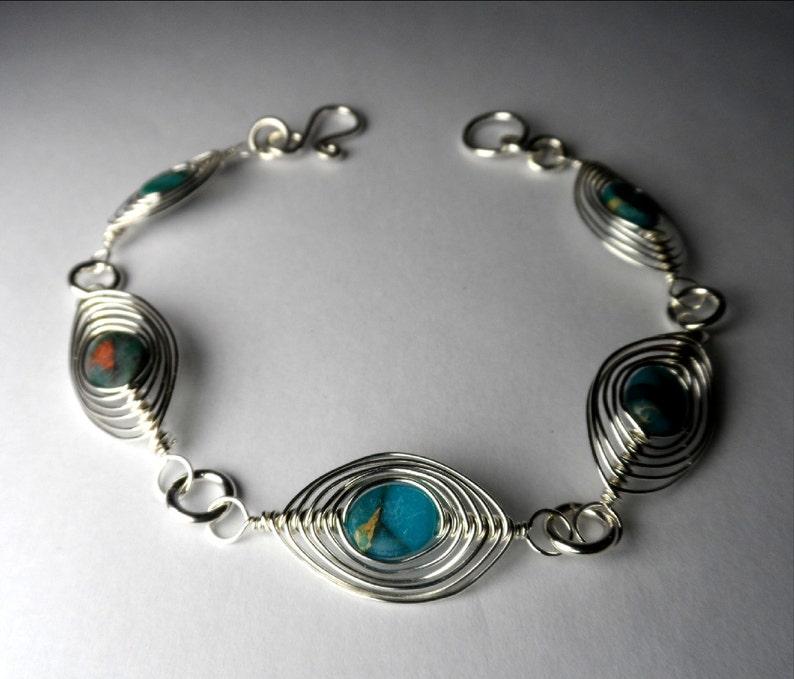 Blue African Opal Jasper  Sterling Silver Herringbone Weave image 0