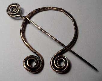 Spiral Fibula Cloak / Scarf / Kilt Pin - Forged Bronze - Replica of Ancient Viking Fibula Pin - Brooch - Roman - Greek - Celtic - Viking