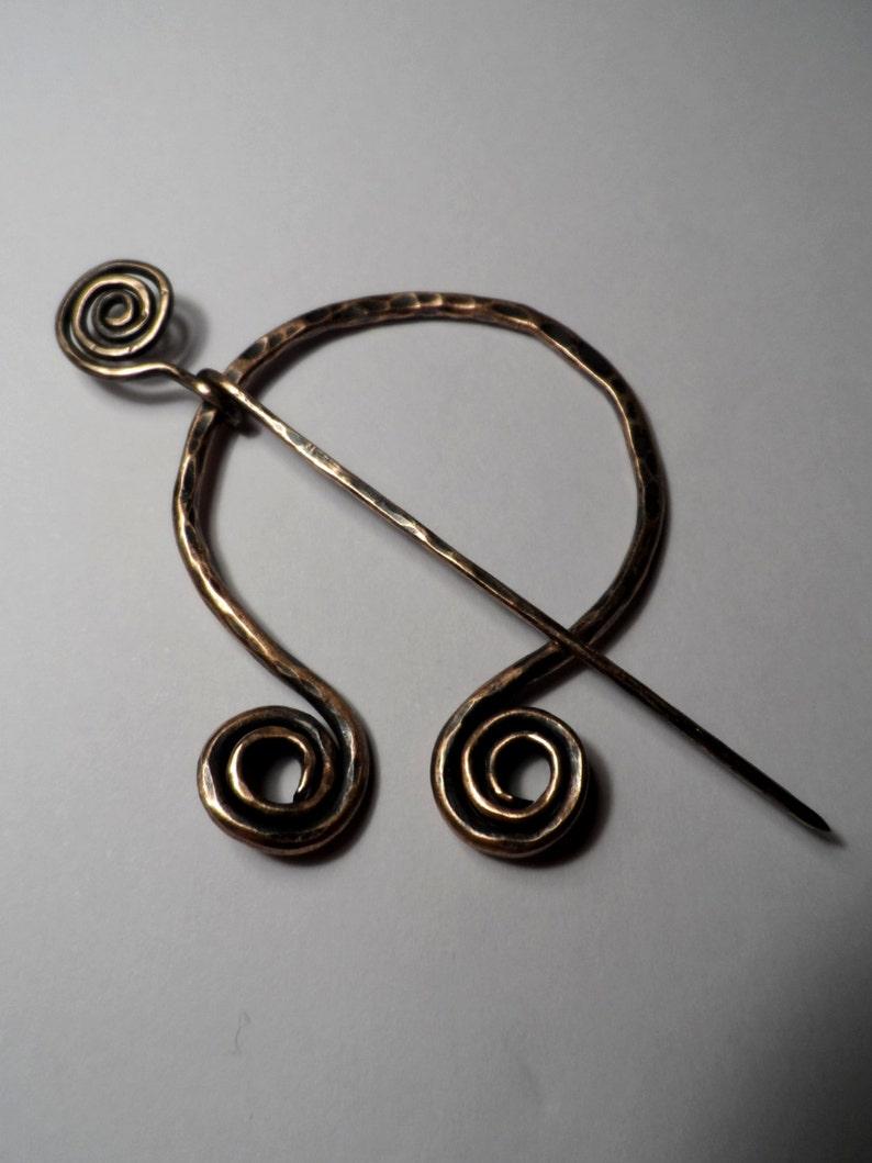 Spiral Fibula Cloak / Scarf / Kilt Pin  Forged Bronze  image 0