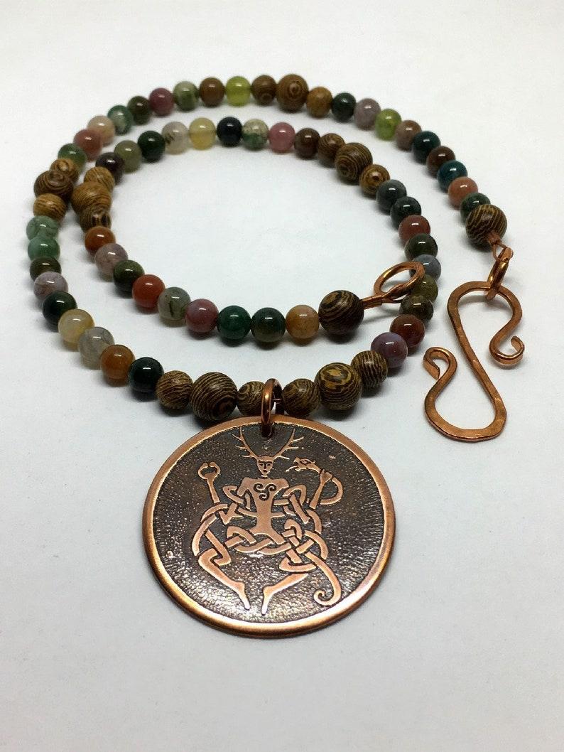 Copper Cernunnos Beaded Gemston Necklace  Celtic Horned God  image 0