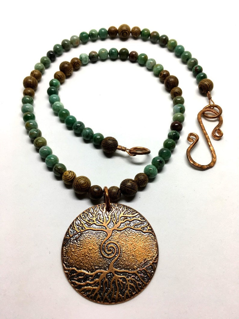 Copper Spiral Tree & Roots Beaded Necklace  Natural Gemstones image 0
