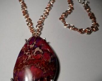 Pinkish Purple Sea Sediment Jasper on .925 Sterling Silver & Copper Chain Necklace - Mixed Metal - Genuine Gemstone
