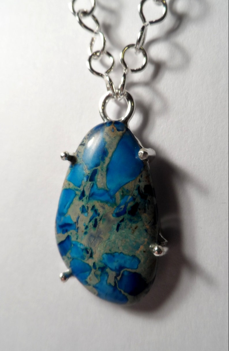 Blue Sea Sediment Jasper / Aquamarine Necklace  Handmade .925 image 0