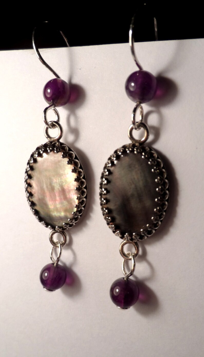 Black Mother-of-Pearl Amethyst & .925 Sterling Silver Dangle image 0