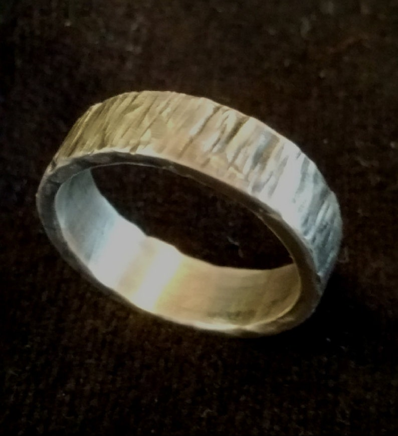 Hammered Rustic .925 Sterling Silver Ring 6mm Wide Band  image 0