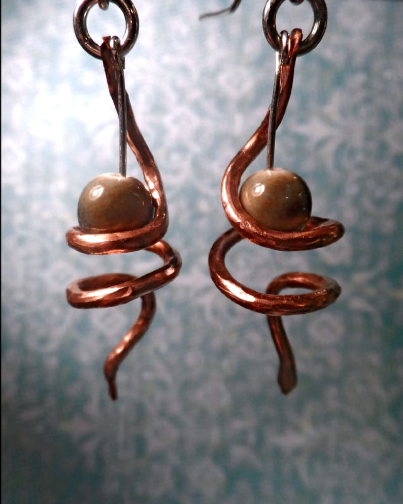 Hammered Copper Spiral & Bead Dangle Earrings image 0