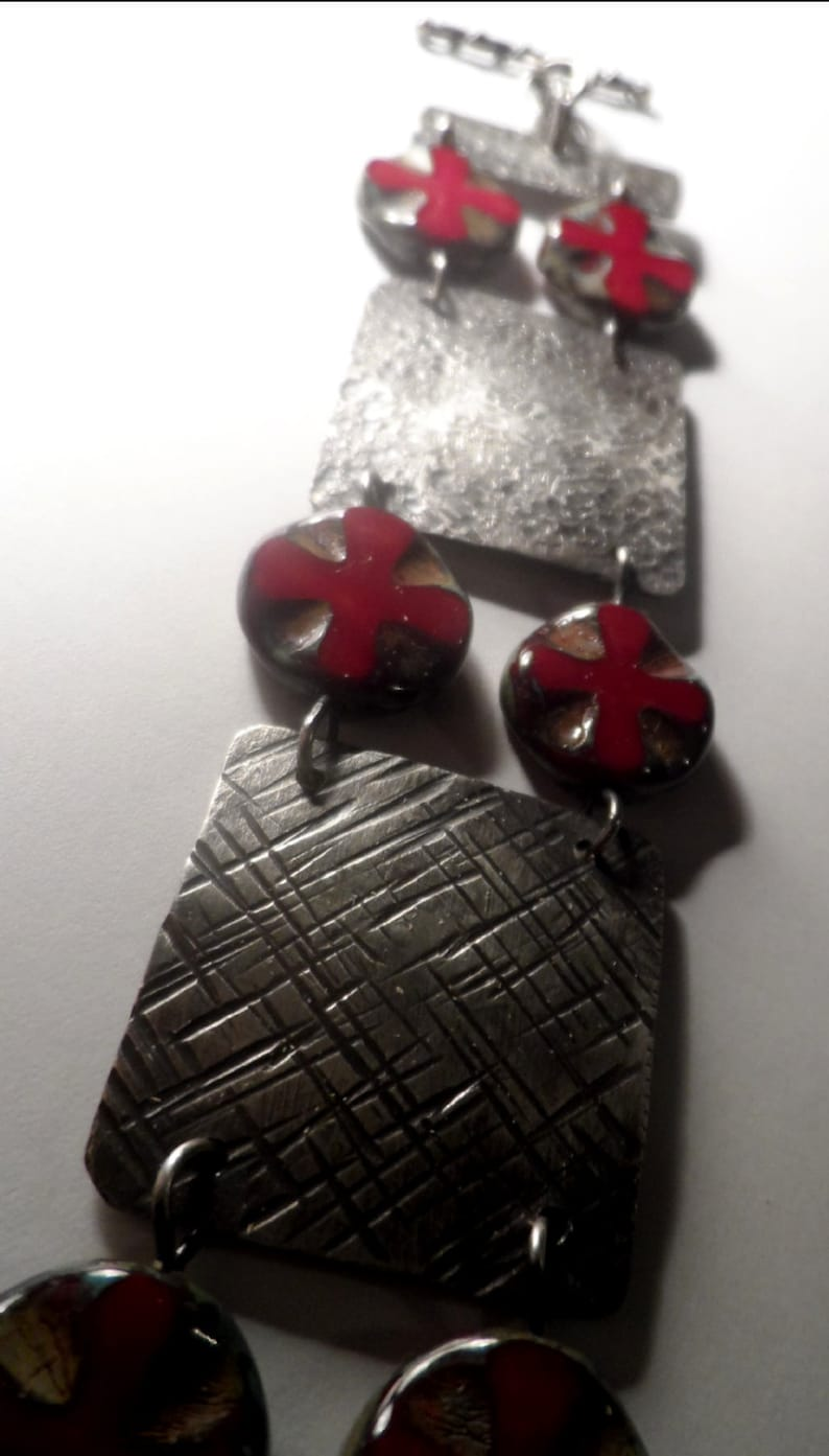 Rustic Sterling Silver Hammered Plates & Cross Beads Bracelet image 0