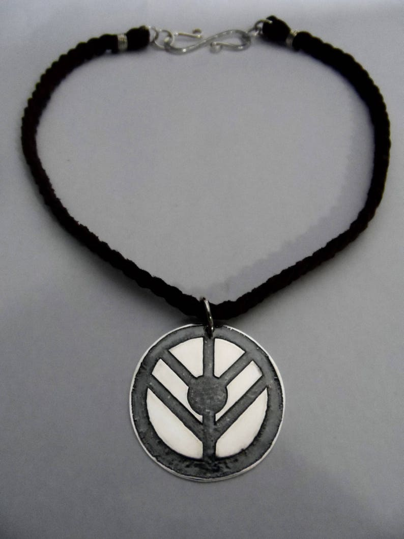 Fine Silver Lagertha Shield on Braided Leather Necklace  image 0
