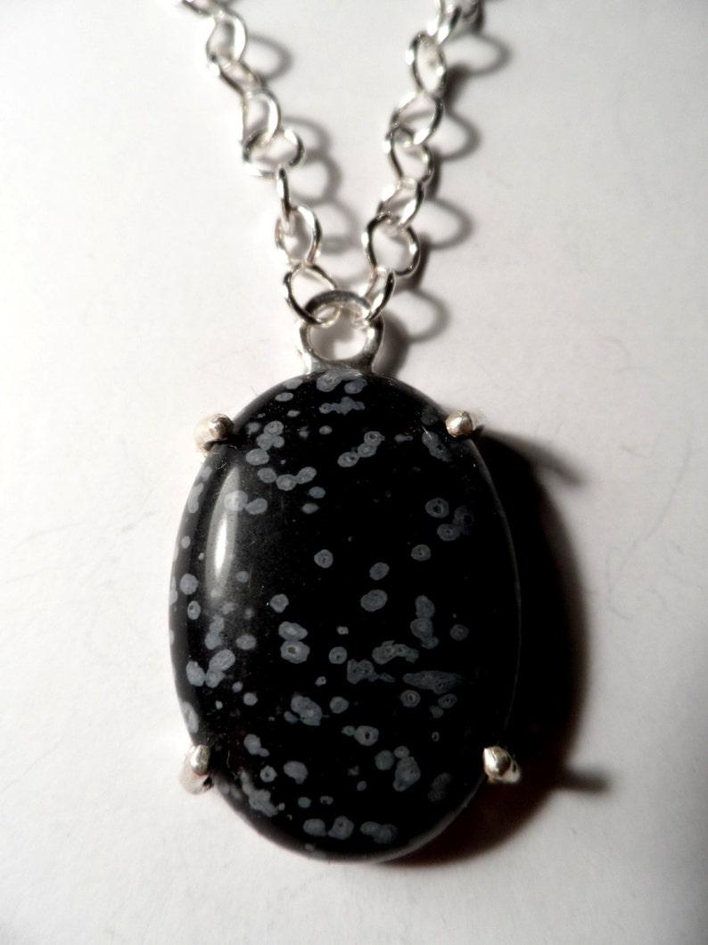 Snowflake Obsidian w/ Aquamarine  .925 Sterling Silver image 0