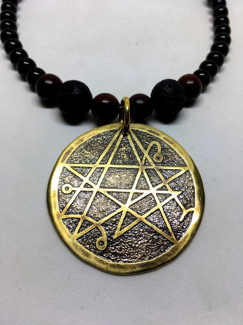 Brass Necronomicon Necklace  Genuine Black Onyx Gemstones  image 0