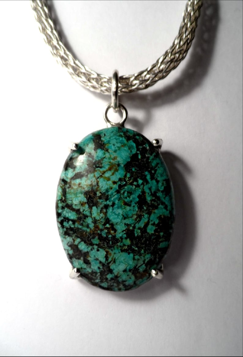 African Turquoise Jasper Cabochon  .999 Fine Silver Viking image 0