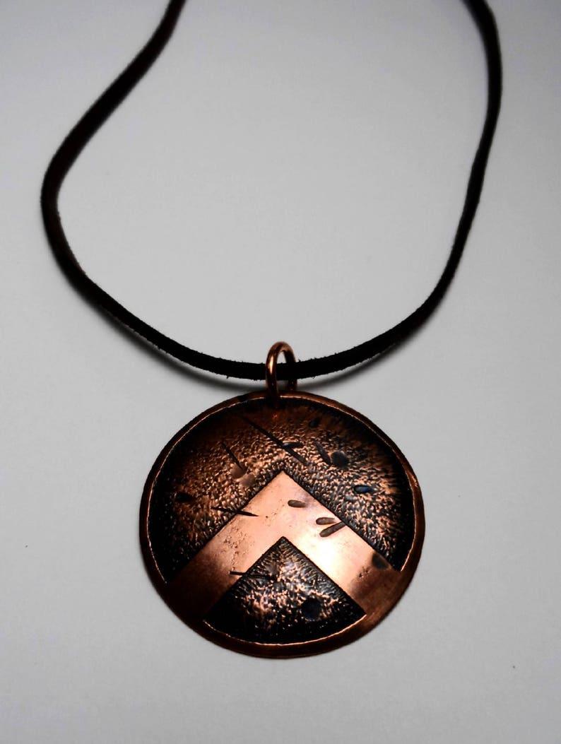 Battle Worn Spartan Shield Pendant  Aged Copper  Genuine image 0