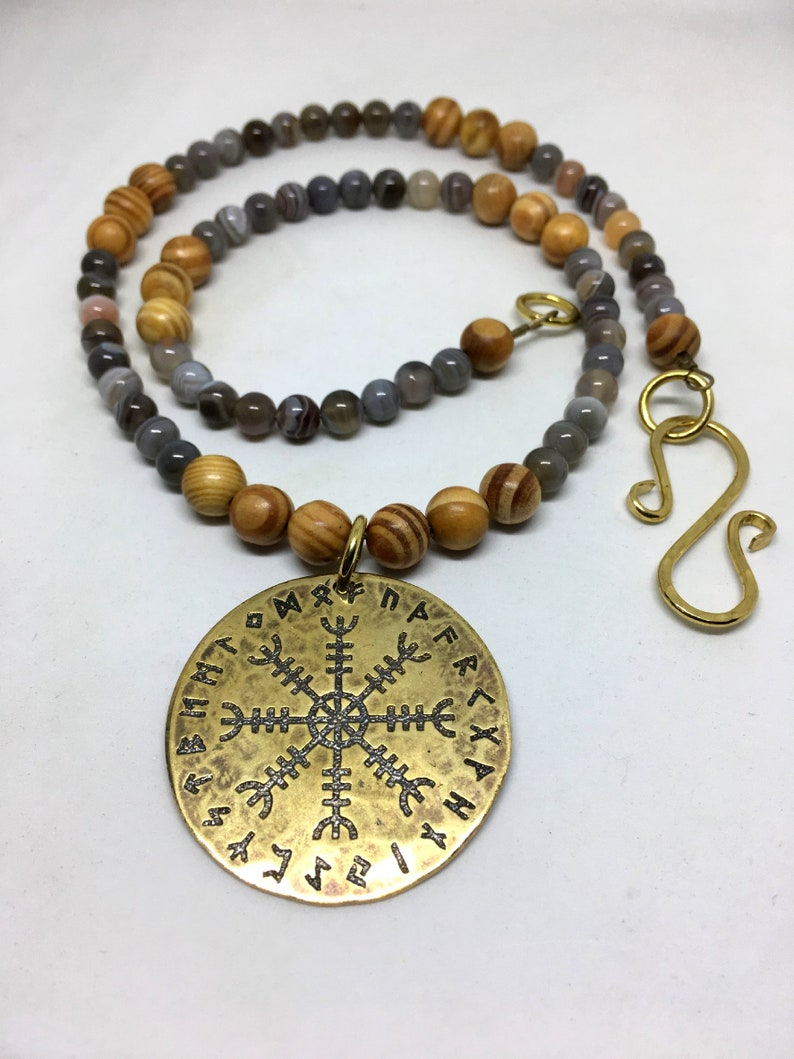Brass Aegishjalmur Bracteate Beaded Necklace  Botswana Agate image 0