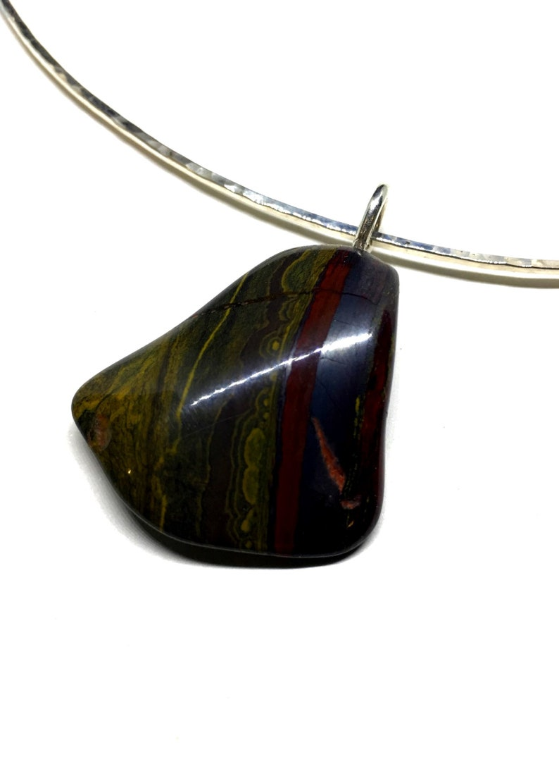 Sterling Silver Torc  Tiger Iron Gemstone Necklace  Hammered image 0