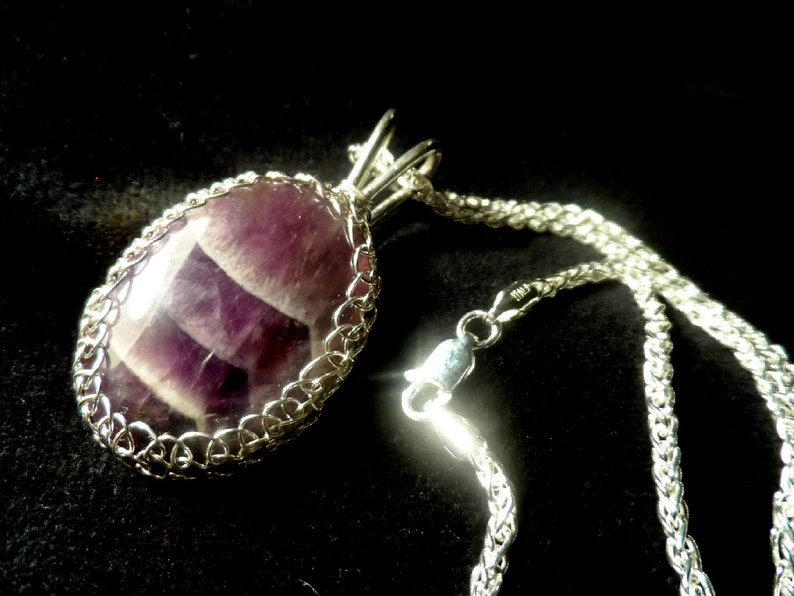 Amethyst & Sterling Silver Pendant Necklace  Chevron Amethst image 0