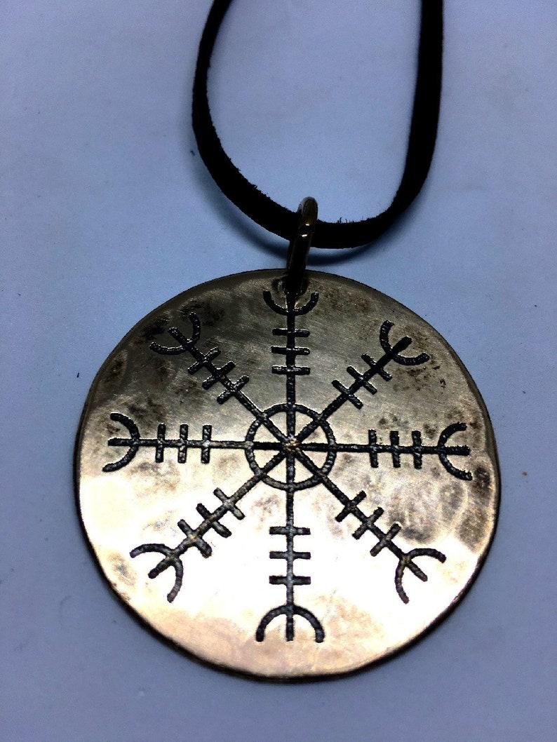 Helm of Awe / Aegishjalmur Bronze Viking Pendant  Genuine image 0