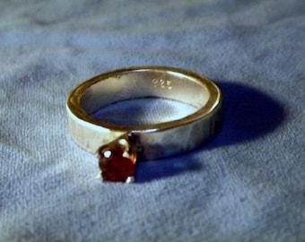 Garnet & Sterling Silver Ring - 4mm Band - Solid .925 Sterling Silver - Grade A Garnet Gemstone - January Birthstone - Engagement - Wedding