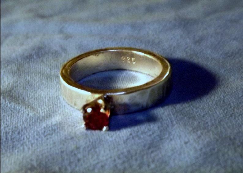 Garnet & Sterling Silver Ring  4mm Band  Solid .925 Sterling image 0