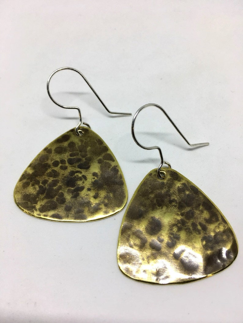 Hammered Brass Earrings image 0