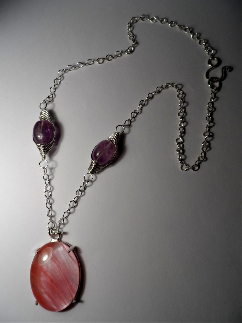 Amethyst / Pink Glass Cabochon Pendant w/ Handmade .925 image 0