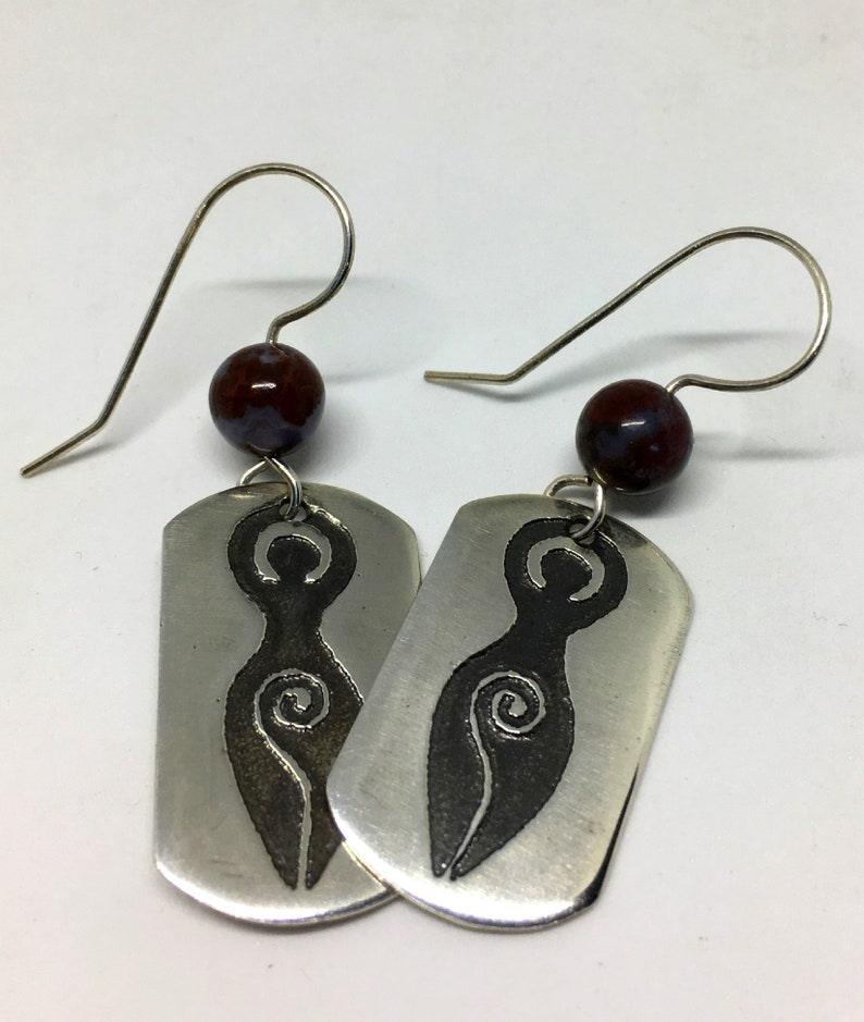 Sterling Silver Mother Goddess Earrings  Natural Red image 0
